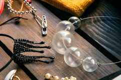 Close up, macro. Accessories of a fashion stylist. Handmade