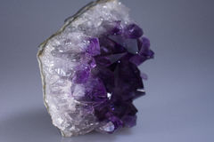 Close-Up Macro Amethyst Crystal. Close-Up Macro Cluster of  Amethyst Crystal Stock Photo