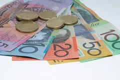 Close Up Macro Australian Notes Money. Close up of Australian Money Denominations One Hundred Dollar  Fifty Dollar Twenty Dollar Ten Dollar and Five Dollar Notes Stock Images