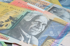 Close Up Macro Australian Notes Money. Close up of Australian Fifty Dollar Note Royalty Free Stock Photos