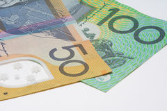 Close Up Macro Australian Notes Money. Close up of Australian Fifty and One Hundred Dollar Notes Royalty Free Stock Photo