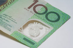 Close Up Macro Australian Notes Money. Close up of Australian One Hundred Dollar note Royalty Free Stock Photo