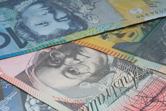 Close Up Macro Australian Notes Money. Close up of Scattered Australian Money Dollar Notes Stock Photo