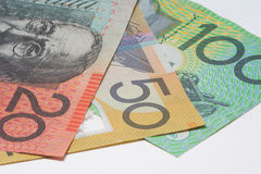 Close Up Macro Australian Notes Money. Close up of Scattered Australian Money Dollar Notes Royalty Free Stock Photography