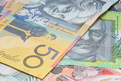 Close Up Macro Australian Notes Money. Close up of Scattered Australian Money Dollar Notes Stock Image