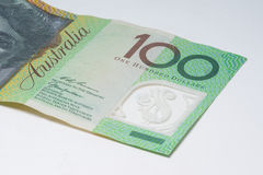 Close Up Macro Australian Notes Money. Close up of Scattered Australian Money 100 Dollar Note Stock Images