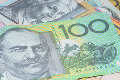 Close Up Macro Australian Notes Money. Close up of Scattered Australian Money 100 Dollar Note Stock Photography