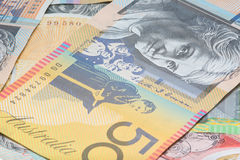 Close Up Macro Australian Notes Money. Close up of Scattered Australian Money Fifty Dollar Notes Royalty Free Stock Photo