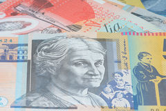 Close Up Macro Australian Notes Money. Close up of Scattered Australian Money Fifty Dollar Notes Royalty Free Stock Images