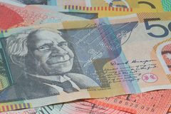 Close Up Macro Australian Notes Money. Close up of Scattered Australian Money Fifty Dollar Notes Stock Photography
