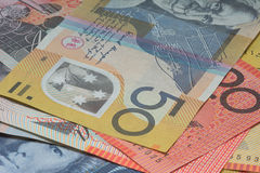Close Up Macro Australian Notes Money. Close up of Scattered Australian Money Fifty Dollar Notes Stock Photos