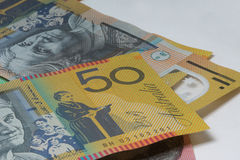 Close Up Macro Australian Notes Money. Close up of Scattered Australian Money Fifty Dollar Notes Stock Photo