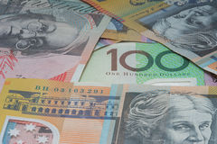 Close Up Macro Australian Notes Money. Close up of Scattered Australian Money Fifty, One Hundred Dollar Notes Stock Photo