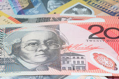 Close Up Macro Australian Notes Money. Close up of Scattered Australian Money Fifty and Twenty  Notes Royalty Free Stock Photos
