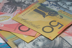 Close Up Macro Australian Notes Money. Close up of Scattered Australian  Money Notes  Fifty and Twenty Dollar Notes Royalty Free Stock Images