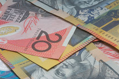 Close Up Macro Australian Notes Money. Close up of Scattered Australian  Money Notes  Fifty and Twenty Dollar Notes Royalty Free Stock Photo