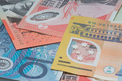 Close Up Macro Australian Notes Money. Close up of Scattered Australian Money Fifty, Twenty and 10 Dollar Notes Royalty Free Stock Photography