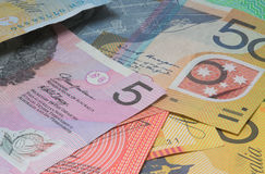 Close Up Macro Australian Notes Money. Close up of Scattered Australian  Money Notes  Fifty, Twenty and Five Dollar Notes Royalty Free Stock Photo