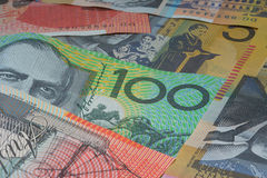 Close Up Macro Australian Notes Money. Close up of Scattered Australian Money Fifty, Twenty and One Hundred Dollar Notes Stock Images