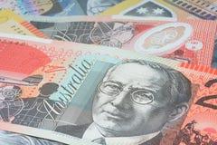 Close Up Macro Australian Notes Money. Close up of Scattered Australian Money of Twenty Dollar Notes Stock Photos