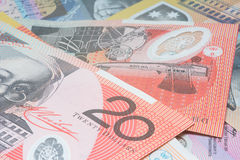 Close Up Macro Australian Notes Money. Close up of Scattered Australian Money of Twenty Dollar Notes Royalty Free Stock Image