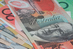 Close Up Macro Australian Notes Money. Close up of Scattered Australian Money of Twenty Dollar Notes Royalty Free Stock Images