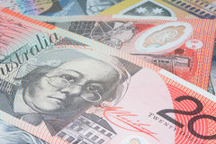 Close Up Macro Australian Notes Money. Close up of Australian Twenty Dollar Note Stock Photos