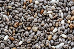 Close-up macro background of whole dried organic chia seeds. Raw food background of tiny chia seeds magnified under a macro lens Stock Images