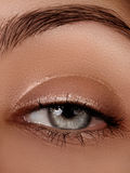 Close-up macro of beautiful female eye. Clean skin, fashion naturel make-up. Good vision Royalty Free Stock Images