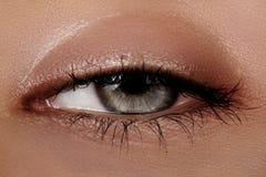 Close-up macro of beautiful female eye. Clean skin, fashion naturel make-up. Good vision Royalty Free Stock Photos