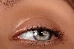 Close-up macro of beautiful female eye. Clean skin, fashion naturel make-up. Good vision Stock Image