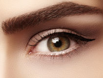 Close-up macro of beautiful female eye with perfect shape eyebrows. Clean skin, fashion naturel make-up. Good vision Stock Photography