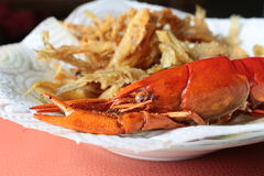 Close-up macro boiled crawfish or crayfish  and fish fried of lo Stock Image