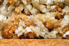 Close-up macro of bread and bread crumbs.  Royalty Free Stock Image