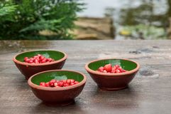 Close up, macro. Bright red wild strawberries in clay bowls. Lake on background