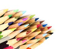 Close up macro of color pencil set on white background stock photography