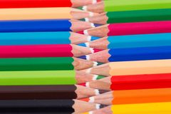 Close-up,macro of colored pencils on white background Royalty Free Stock Photos