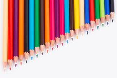 Close-up,macro of colored pencils on white background Royalty Free Stock Photography