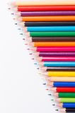 Close-up,macro of colored pencils on white background Stock Photos
