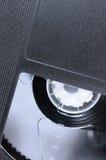 Close up macro da fita de VHS, grande videotape retro preto detalhado Fotos de Stock