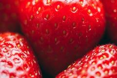 Close up macro de morangos vermelhas frescas, sementes fotografia de stock royalty free
