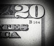 Close up macro detail of dollar money banknotes. Toned Royalty Free Stock Photo