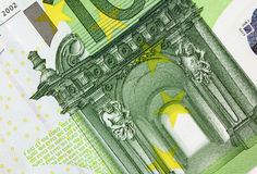 Close up macro detail of euro money banknotes. Stock Photography