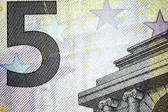 Close up macro detail of euro money banknotes. Toned Stock Image