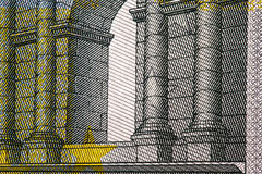 Close up macro detail of euro money banknotes. Toned Stock Images