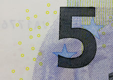 Close up macro detail of fifth euro money banknote! Stock Photo