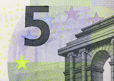 Close up macro detail of fifth euro money banknote Stock Image