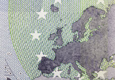 Close up macro detail of fifth euro money banknote. Stock Photo