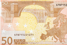 Close up macro detail of fifty euro money banknote. Royalty Free Stock Photo