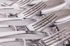 Close up macro detail of a flatware box set. With forks and spoons royalty free stock photo